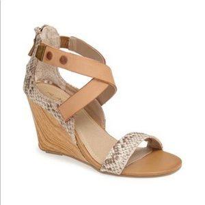 Oh Ava Snake skin wood wedge heels peep toe zip